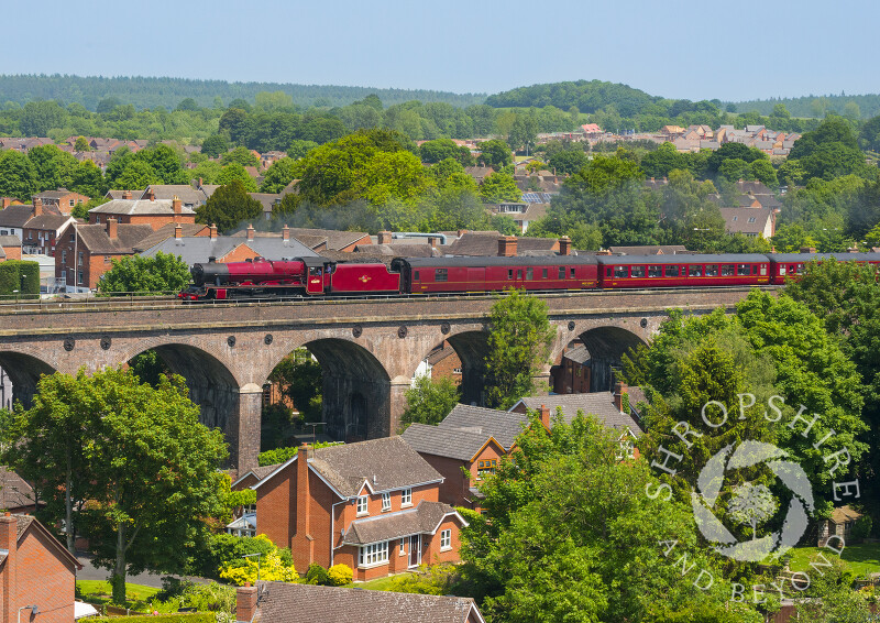 Galatea steam locomotive pulls the Cambrian Coast Express through Shifnal, Shropshire.