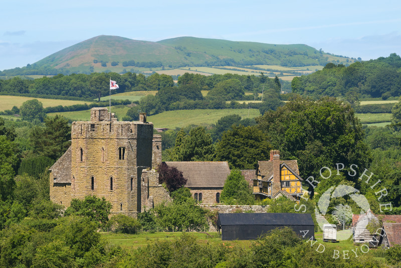 Stokesay Castle and Ragleth Hill, near Craven Arms, Shropshire.