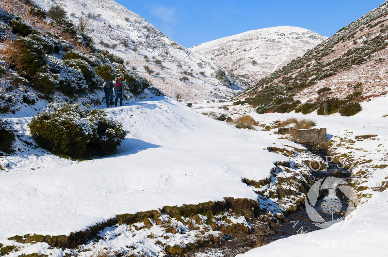 Snow covers the Carding Mill Valley near Church Stretton, Shropshire, England.