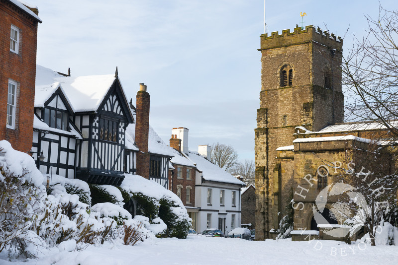 Holy Trinity Church and the Guildhall at Much Wenlock, Shropshire.