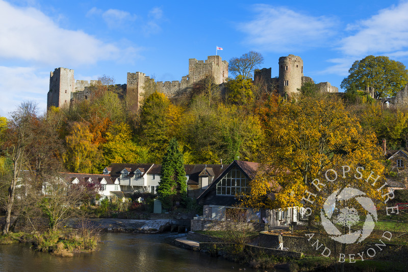 An autumn view of Ludlow Castle and the River Teme, Ludlow, England, Shropshire.