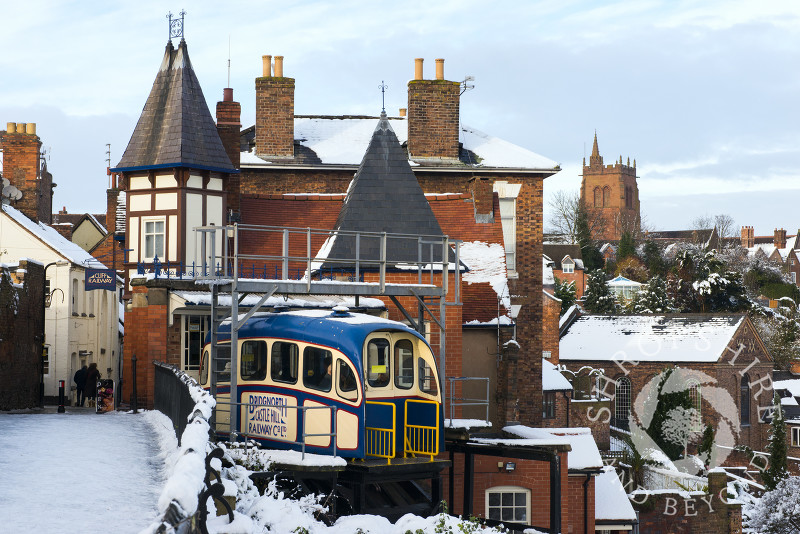 Cliff Railway and Castle Walk in High Town, Bridgnorth, Shropshire.