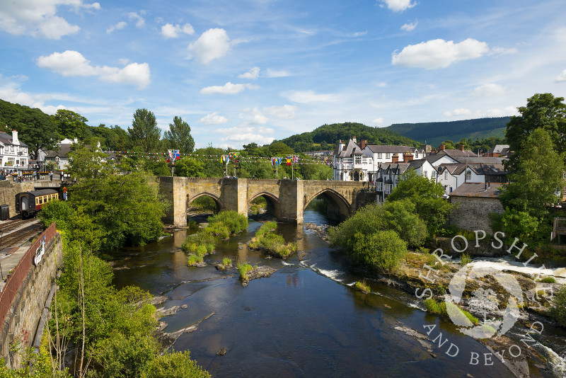 The bridge over the River Dee at Llangollen, Denbighshire, Wales.