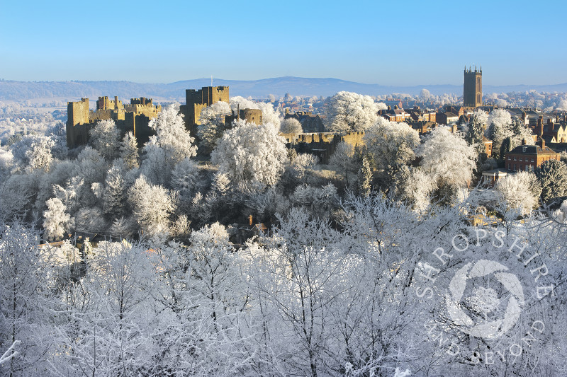 A layer of hoar frost covers the medieval market town of Ludlow, Shropshire.