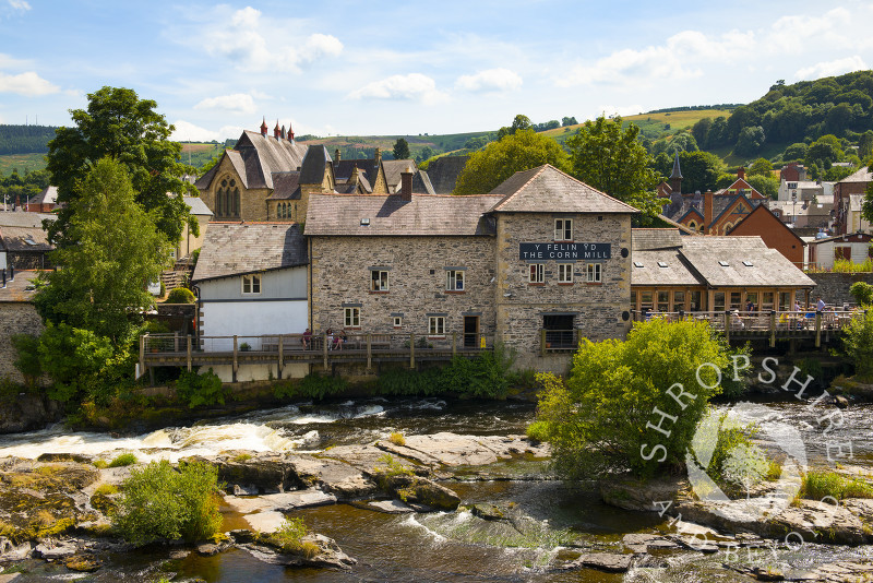 The Corn Mill and the River Dee at Llangollen, Denbighshire, Wales.
