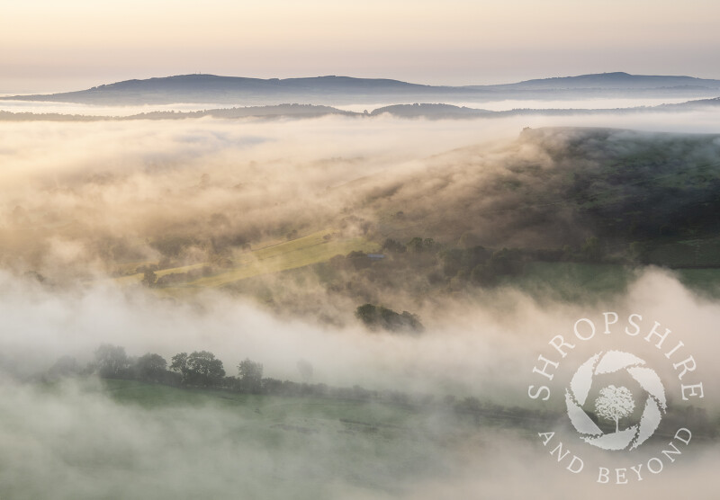 Early morning fog over WIllstone Hill, seen from Caradoc, Shropshire, with the Clee Hills on the horizon.