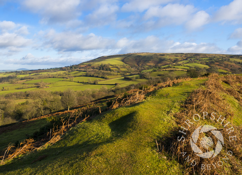 Abdon Burf on Brown Clee, Shropshire, seen from the ramparts of Nordy Bank hill fort.