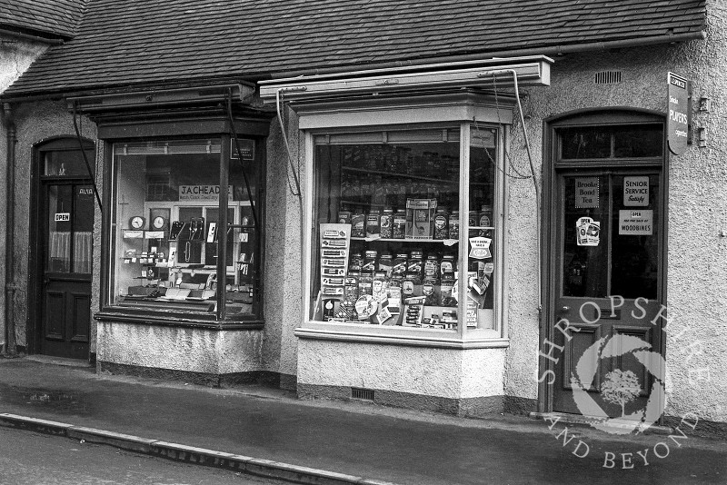 Jack Cheadle's jewellers shop and Lucy Spencer's sweet shop in Bradford Street, Shifnal, Shropshire, seen in 1965.