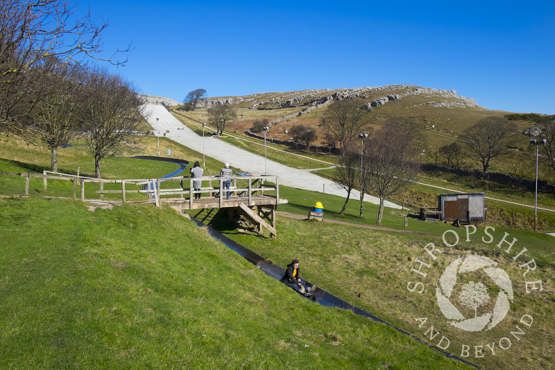 Ski slope on the Great Orme, Llandudno, North Wales.