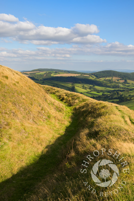 Autumn sunshine on Caer Caradoc Iron Age hill fort near Chapel Lawn, Clun, Shropshire, England.
