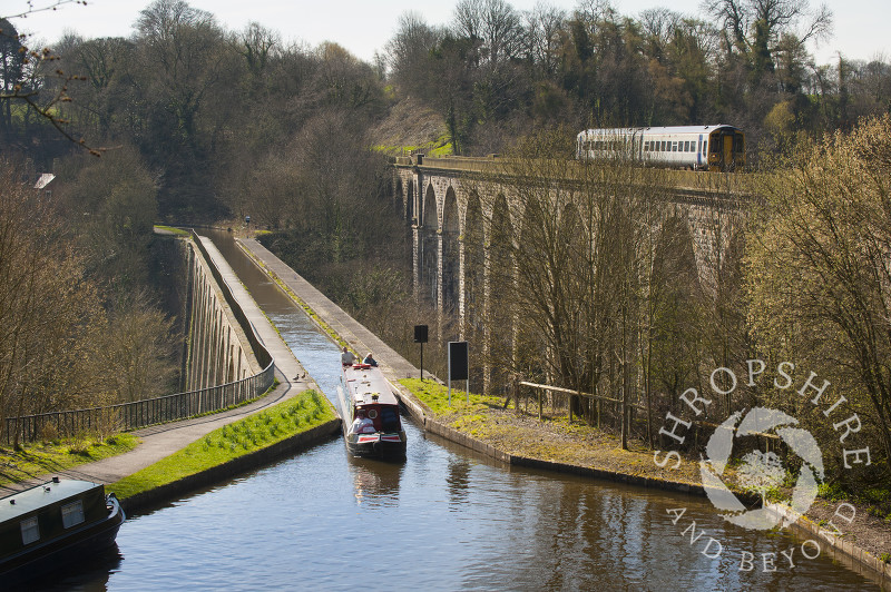 Narrowboats crossing Chirk Aqueduct, on the English/Welsh border.