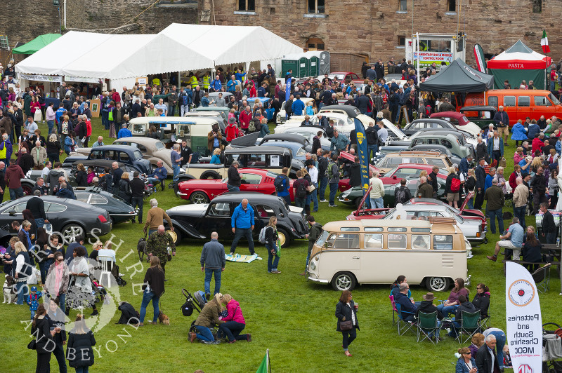 Looking down on the castle grounds at the 2017 Ludlow Spring Festival.