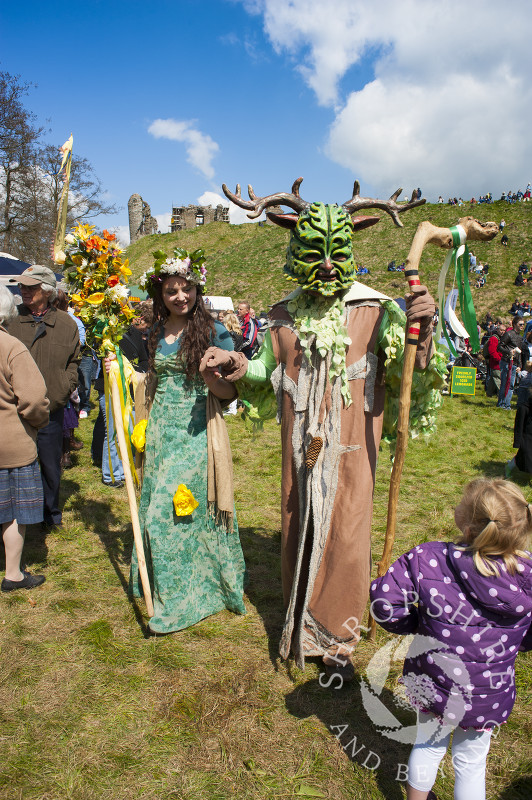 The Green Man and the May Queen at Clun Green Man Festival, Shropshire.