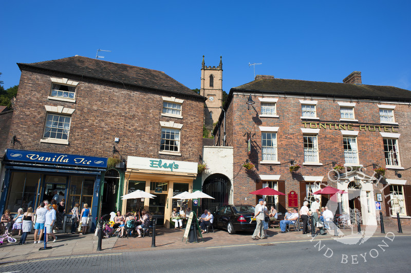 The Tontine Hotel and St Luke's Church at Ironbridge, Shropshire, England.