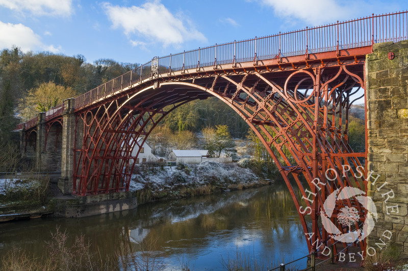Winter sunlight on the Iron Bridge at Ironbridge, Shropshire.