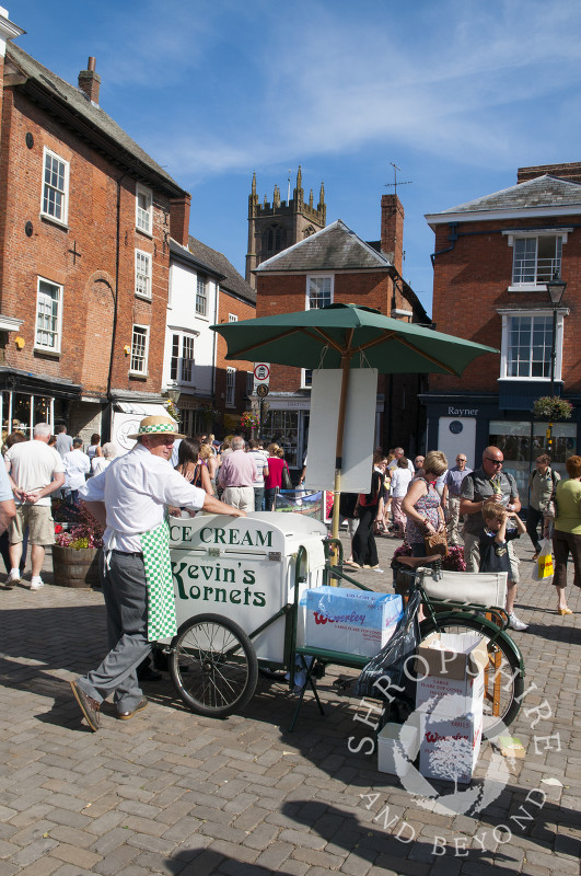 Ice cream for sale during Ludlow Food Festival, Shropshire, England.