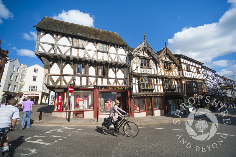 Half-timbered buildings in the medieval market town of Ludlow, Shropshire.
