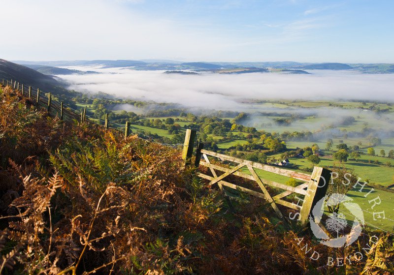 Mist over south Shropshire, seen from the Long Mynd, near Church Stretton, England.