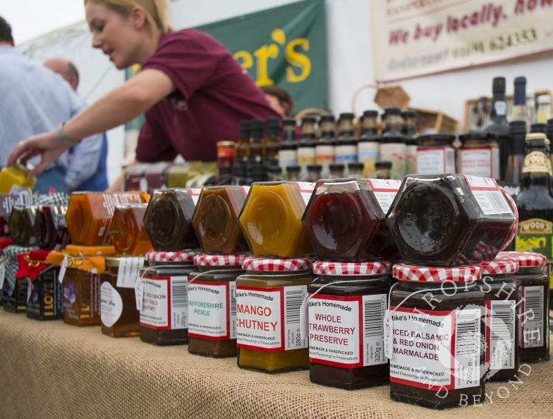 Jars of preserves for sale at Mike's Homemade stall, 2014 Ludlow Food Festival, Shropshire, England.