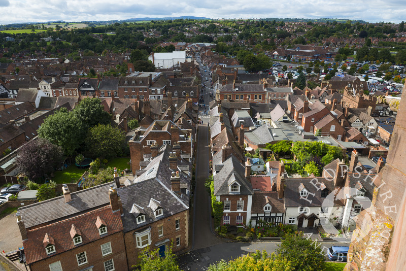 Looking down on Church Street and Whitburn Street from the tower of St Leonard's Church, Bridgnorth, Shropshire.