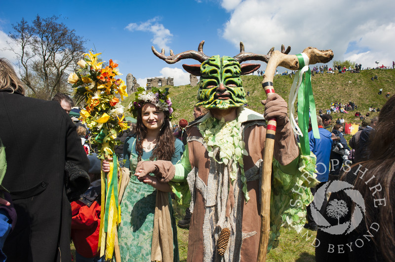 The May Queen and the Green Man at Clun Green Man Festival, Shropshire.