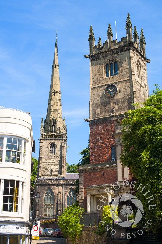 The churches of St Alkmund and St Julian seen from High Street, Shrewsbury, Shropshire, England.