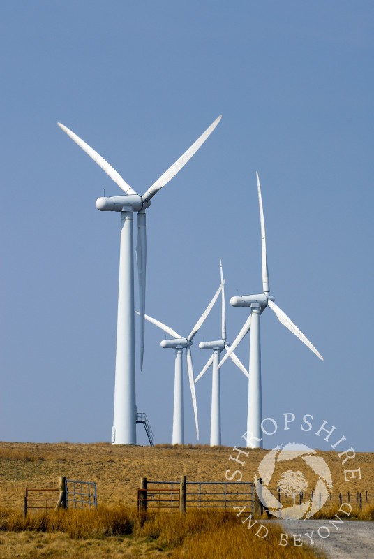 Wind turbines at Carno in Powys, Mid Wales.