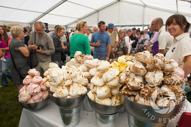 A variety of meringues on sale at Ludlow Food Festival, Shropshire, England.