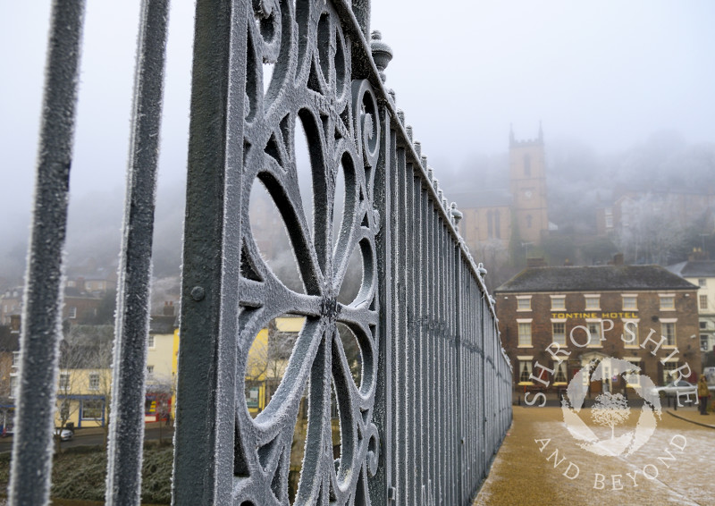 Frost-covered railings on the Iron Bridge at Ironbridge, Shropshire.