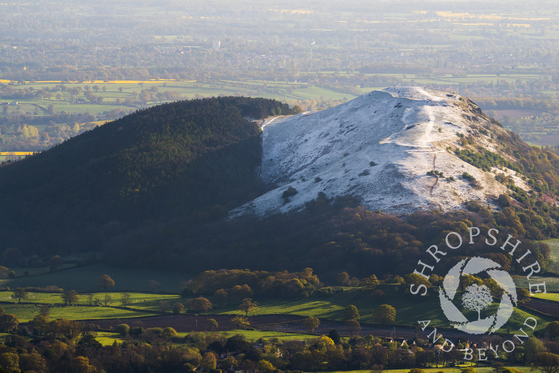A dusting of snow on Earl's Hill,  Shropshire, seen from the Stiperstones.
