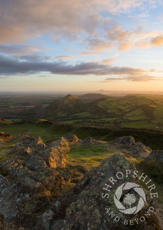 Sunrise seen from the summit of Caer Caradoc, near Church Stretton, Shropshire.