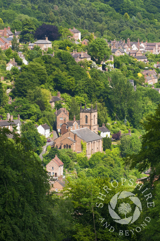 St Luke's Church nestling in the town of Ironbridge, Shropshire.