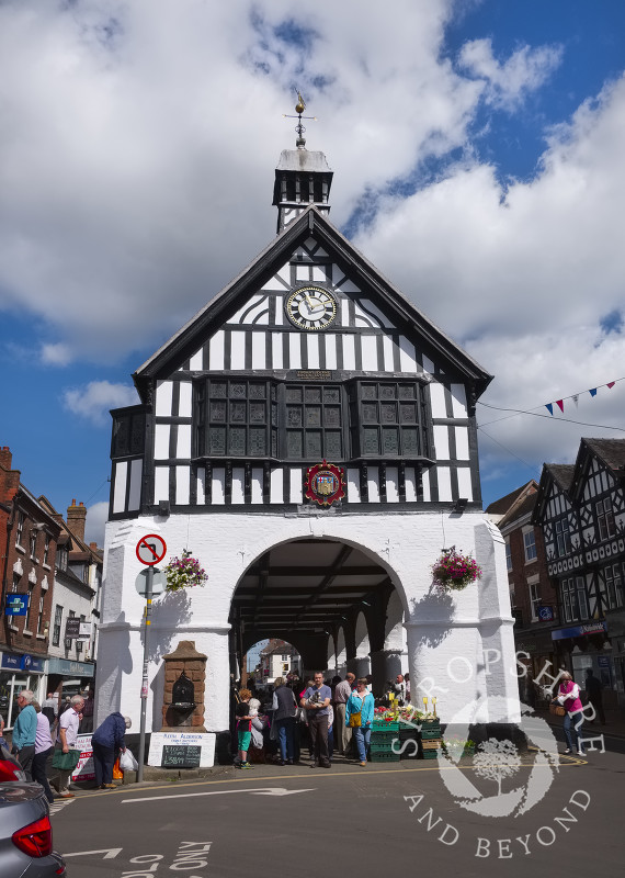 Market stalls under the Town Hall in Bridgnorth, Shropshire, England.