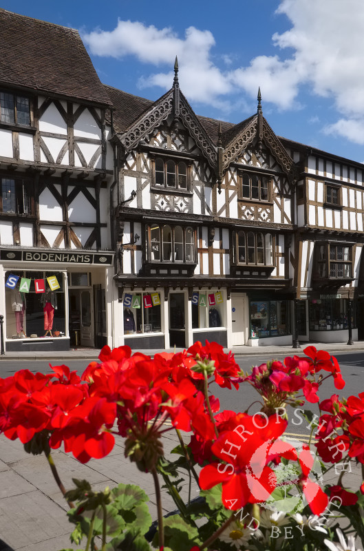 Flowers and half-timbered buildings in Broad Street, Ludlow, Shropshire.