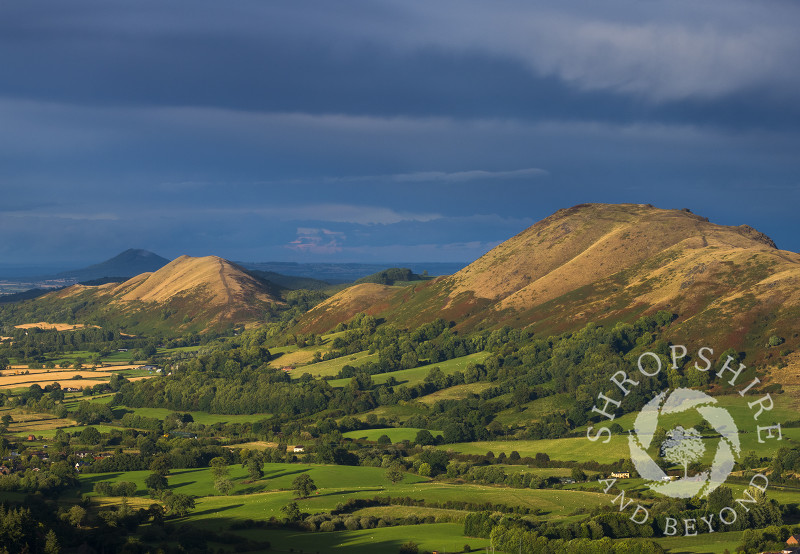 Caer Caradoc, the Lawley and the Wrekin seen from the Long Mynd, Shropshire.