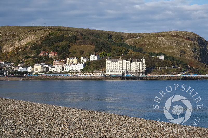 View of the sea and the Grand Hotel beneath the Great Orme at Llanduno, Conwy, Wales.