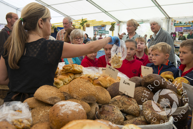 Pupils from Ludlow Junior School investigate fresh bread at the 2014 Ludlow Food Festival, Shropshire, England.