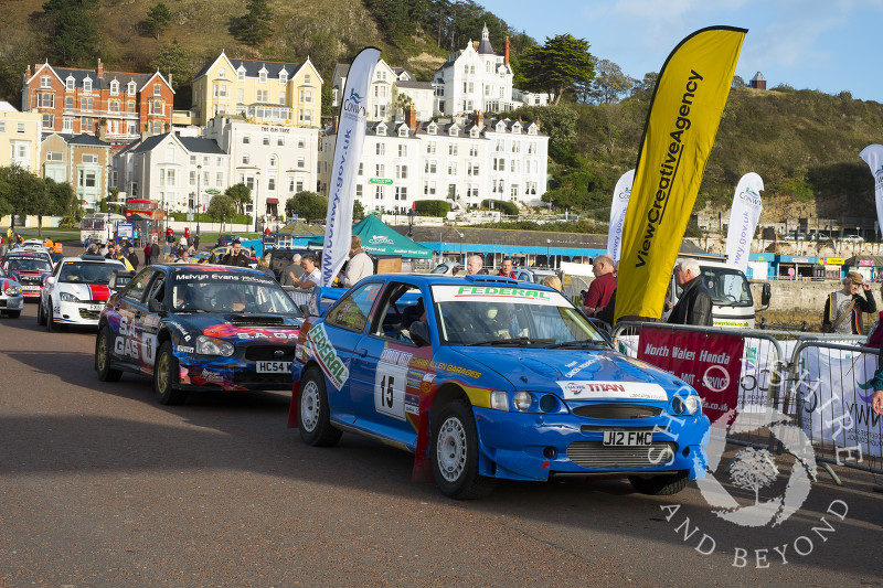 Cambrian Rally competitors on the seafront at Llandudno, Wales.