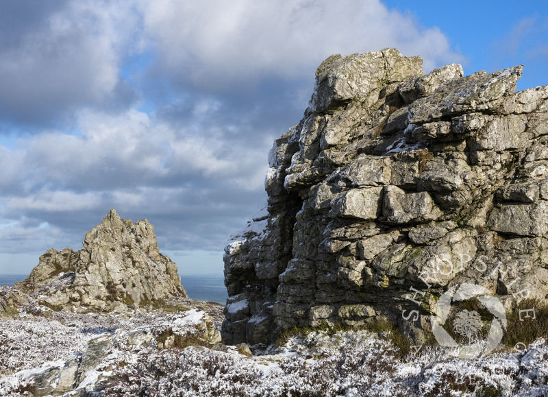 The rocky landscape of the Stiperstones, Shropshire, with the Devil's Chair seen left.