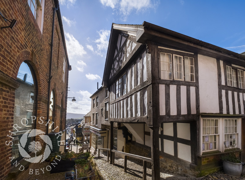 The House on Crutches and Town Hall in Bishop's Castle, Shropshire, England.