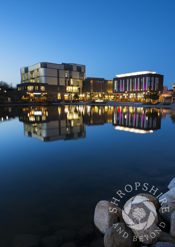 Southwater reflected in the lake at Telford, Shropshire, England.