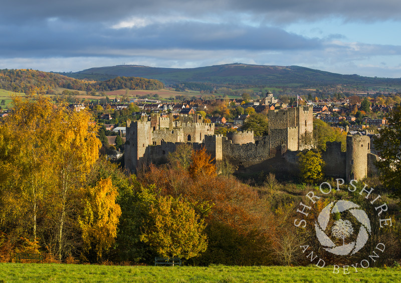 An autumn view of Ludlow from Whitcliffe Common, Shropshire, England.